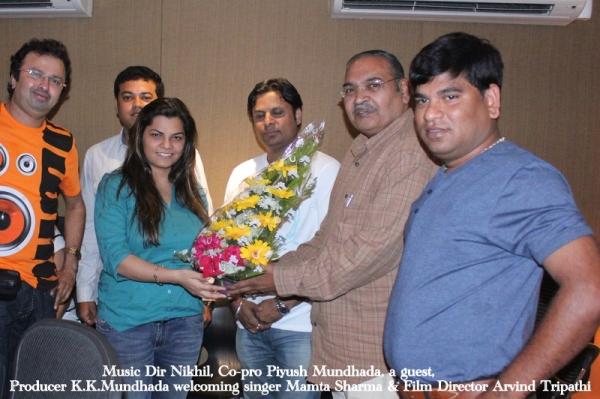 "Mamta Sharma sings for 3rd song of Film ""BABUJI EK TICKET BUMBAI""."