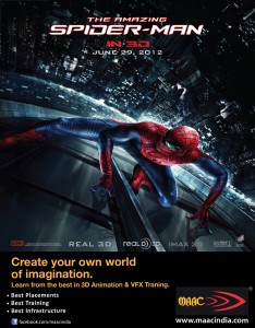 MAAC Animation Academy associates with 'The Amazing Spiderman'. Launches a new co-promotional campaign across TV, Print, On-Screen, Digital domains
