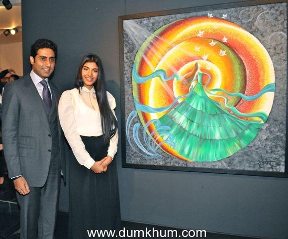 """Actor Abhishek Bachchan Inaugurates Radhika Goenka's Art Exhibition """"And the Flowers Showered"""""""