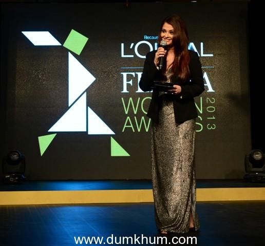 Aishwarya at the L'oreal Femina Woman of Worth Awards