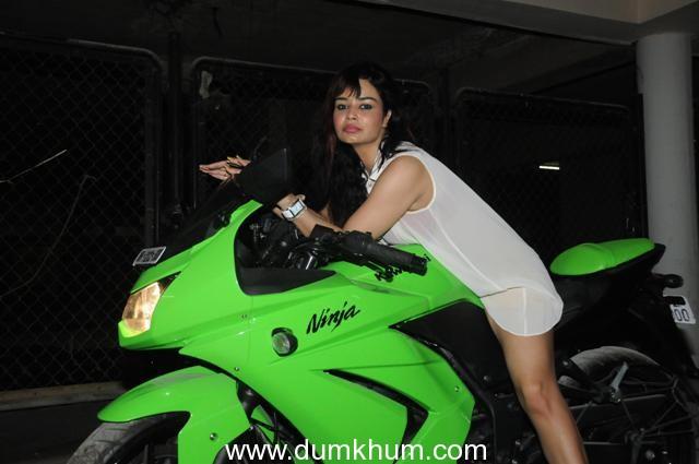 Kavitta verma on a biking spree celebrating the release of the film Policegiri !