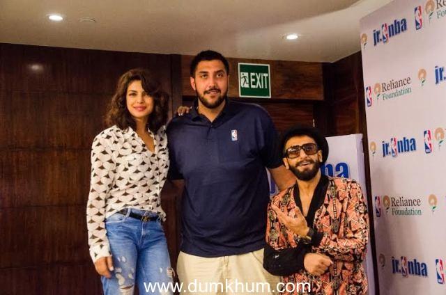 Ranveer Singh and Priyanka Chopra met NBA player Sim Bhullar in Mumbai