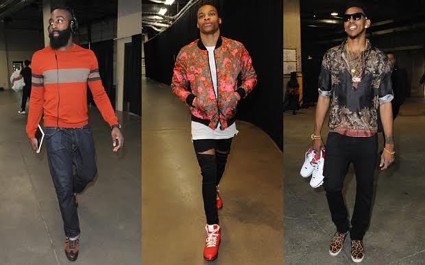 James Harden of the Houston Rockets, Russell Westbrook of the Oklahoma City Thunder and Nick Young of the Los Angeles Lakers.
