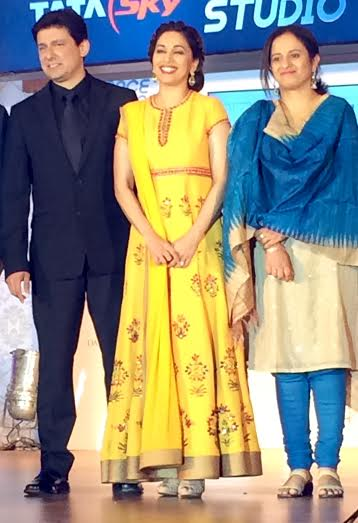 Madhuri Dixit Nene and Pallavi Puri, Chief Commercial Officer, & Dr. Nene Tata Sky at the launch of Tata Sky 'Dance Studio'.