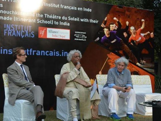 Seen here Francois Vandeville (Director IFI), Rajeev Sethi and Ariane Mnouchkine