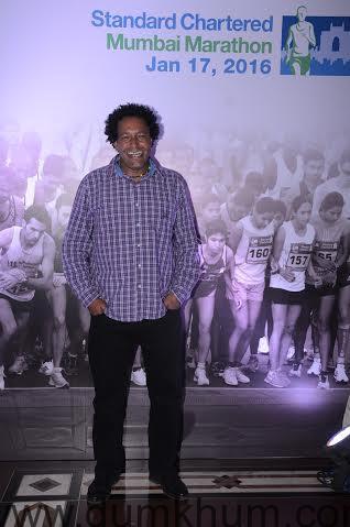 Athlete Lindford Christie at the Standard Chartered Mumbai Marathon event