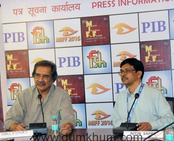 Mr. Mike Pandey, Veteran film maker interacting with the press on Saturday at MIFF Media Centre-