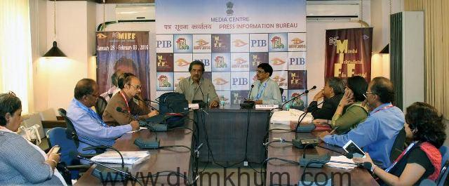Mr. Mike Pandey, Veteran film maker interacting with the press on Saturday at MIFF Media Centre