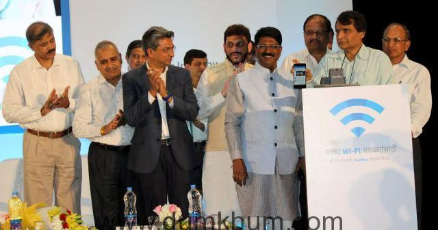 Railway Minister Shri Suresh Prabhu today launched the free public Wi-Fi service at the Mumbai Central Station-