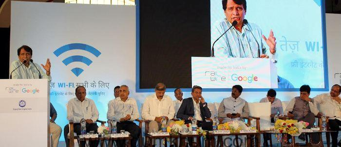 Railway Minister Shri Suresh Prabhu today launched the free public Wi-Fi service at the Mumbai Central Station