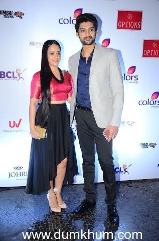 Natasha Redij and Aaditya Redij @ ... unch of Team Mumbai Tigers of BCL.