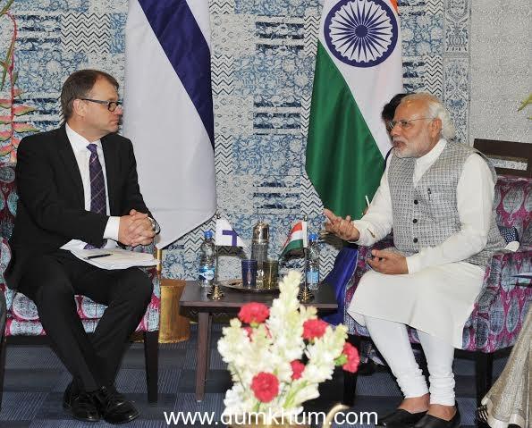 Prime Minister Shri Narendra Modi holding bilateral talks with the Prime Minister of Sweden Mr. Stefan Lofven at the Make in India Centre in Mumbai
