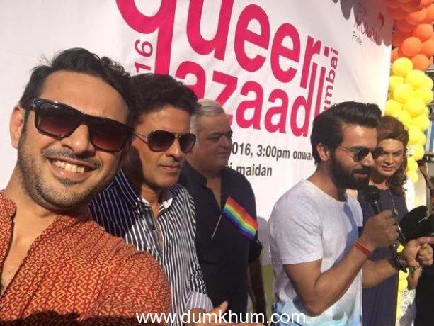 The cast of Hansal Mehta's Aligarh at the gay parade