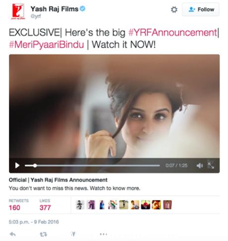 """YRF's upcoming film """"Meri Pyaari Bindu"""", starring Parineeti Chopra and Ayushmann Khurrana, Unlocked on Twitter!"""