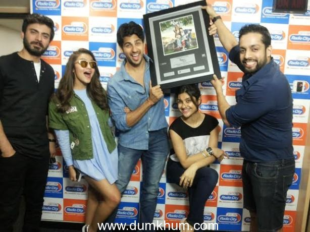 Alia Bhatt, Sidharth Malhotra  and Fawad Khan with RJ Archana and RJ Salil at Radio City 91.1 FM  to promote their upcoming film 'Kapoor & Sons'