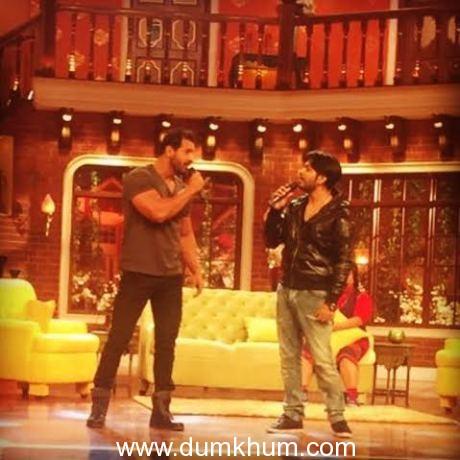 John Abraham and Ankit Tiwari promoting Rocky Handsome