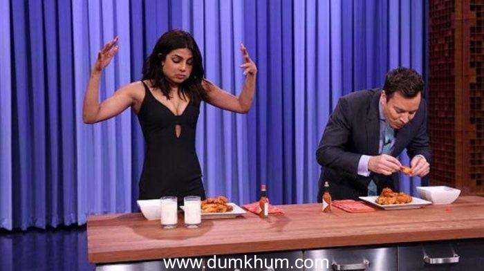 Priyanka Chopra beats Jimmy Fallon in a Chicken-Wings eating contest!