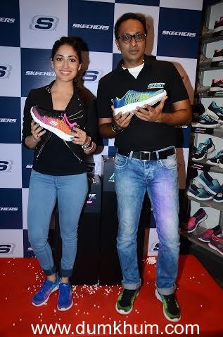 Rahul Vira CEO Skechers South Asia Pvt Ltd and Yami Gautam at the Skechers Burst launch.
