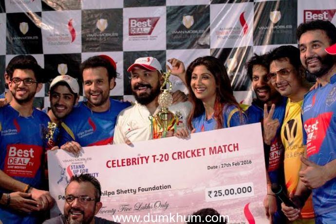 Shilpa Shetty Foundation raised Rs 25,00,000 through this charity match