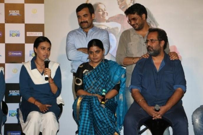 producer Aanand L Rai (Colour Yellow Productions), director Ashwiny Iyer Tiwari and the cast Swara Bhaskar and Ria Shukla (dressed in school uniforms), Pankaj Tripathi (dressed as a school headmaster)-