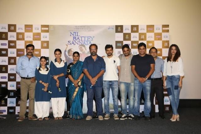 producer Aanand L Rai (Colour Yellow Productions), director Ashwiny Iyer Tiwari and the cast Swara Bhaskar and Ria Shukla (dressed in school uniforms), Pankaj Tripathi (dressed as a school headmaster