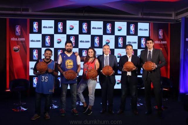 (Left to right)Abish Matthew, Rannvijay Singha, Neha Dhupia, NBA Deputy Commissioner Mark Tatum, CEO The 120 Media Collective and MD NBA India Yannick Colaco at the NBA Digital Destination Launch.