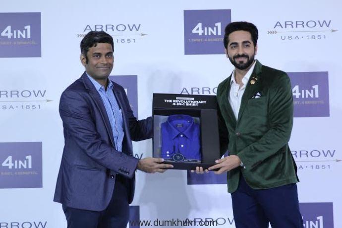 Mr Mauli Venkatraman and Ayushma ... veiling the Arrow 4in1 Shirt