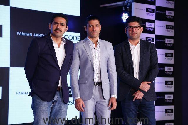 Srinivasa Rao- VP Marketing Lifestyle Farhan Akhtar and Dheeraj Chawla- Head Mens Fashion Lifestyle