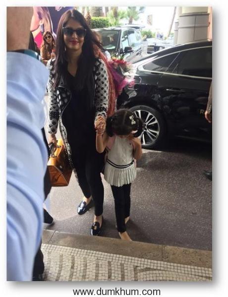 Aishwarya Rai Bachchan with daughter Aradhaya arrives in Cannes