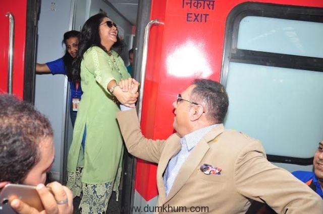 Bollywood Actor Boman Irani and Director Meghna Gulzar receive India's 1st ever family food train - Kurkure Family Express in Mumbai-
