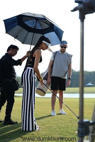 Deepika playing golf