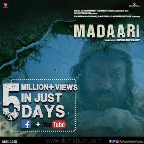Irrfan Khan Starer 'Madaari' trailer crosses 5 million mark !
