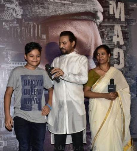 Irrfan Khan presents Madaari trailer along with his son , Jimmy & Nishikant kamat-