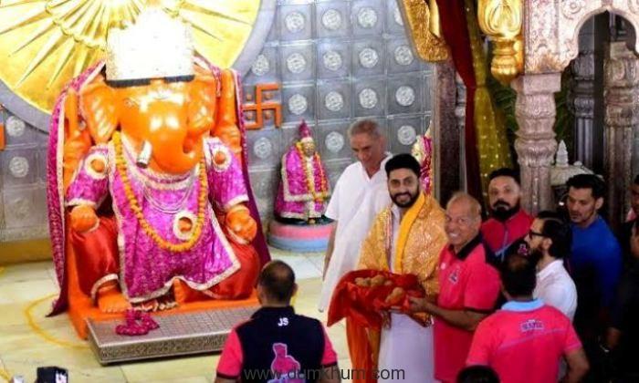 Abhishek Bachchan and the Jaipur Pink Panthers visit Moti Dungri Ganesh in Jaipur !