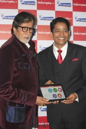 Mahesh Shetty Mr. Amitabh Bachchan during the launch of Robomate powered by MT Educare-