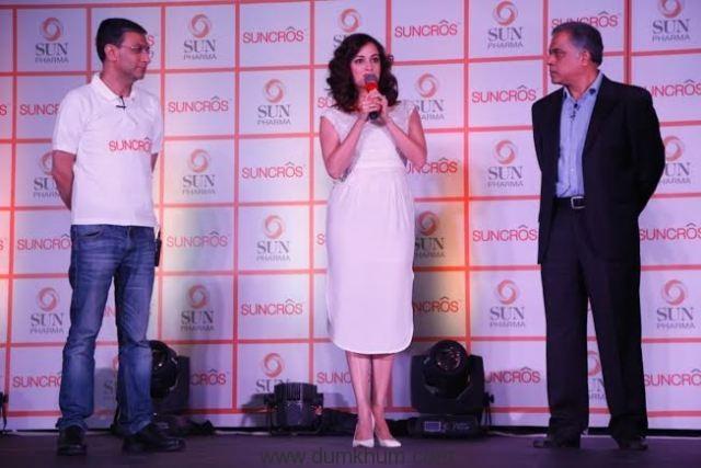 Mr Subodh Marwah, Business Head - Global Consumer Healthcare, Mr Abhay Gandhi, CEO - India Business, Sun Pharma & Dia Mirza at the launch of Suncros.J