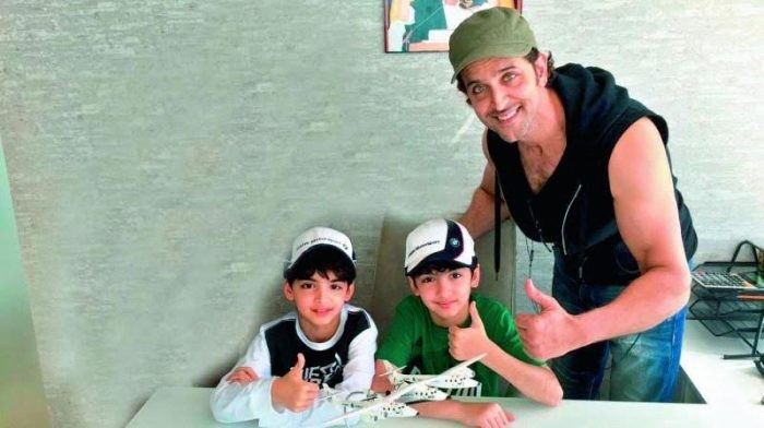 Hrithik on a trip to Africa with Hrehaan and Hridhaan.