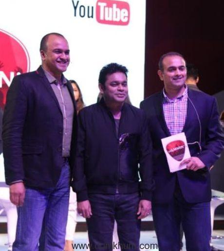 Satya Raghavan, A R Rahman and Samir Bangara (Cofounder and MD, QYUKI)