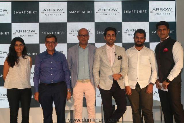 Stylist Ami Patel, Mr J Suresh, Designer Narendra Kumar, Actor Ayushmaan Khurana , Ivan Mehta and Rajiv Makhani at the launch of Arrow Smart Shirt.
