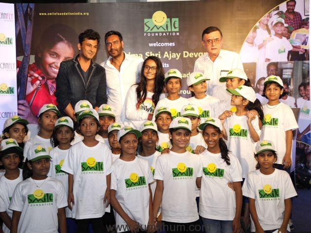 padma-shri-ajay-devgn-joins-smile-foundation-as-a-goodwill-ambassador-and-unveils-shecanfly-campaign-along-with-his-daughter-nysa-chef-vikas-khanna-mr-santanu-mishra-co-founder-trustee-smile-fou