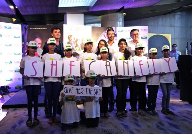 padma-shri-ajay-devgn-joins-smile-foundation-as-a-goodwill-ambassador-and-unveils-shecanfly-campaign-along-with-his-daughter-nysa-chef-vikas-khanna-mr-santanu-mishra-and-smile-kids