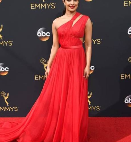 Priyanka Chopra looks stunning in scarlet at the Emmys!