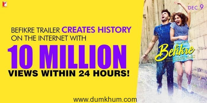 Befikre Trailer Creates History on the Internet with 10 Million Views within 24 hours!