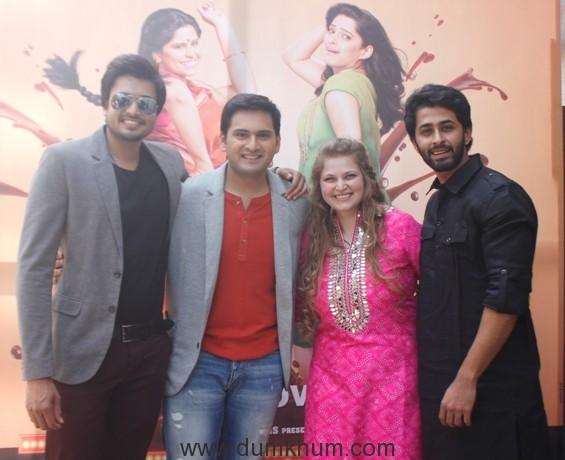 chirag-patil-siddharth-chandekar-producer-vidhi-kasliwal-and-chetan-chitnis-at-the-golu-polu-song-launch-of-landmarc-films-movie-vazandar-to-release-on-nov-11