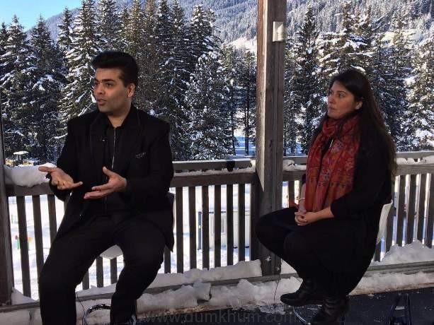 Karan johar in conversation with Oscar winner Sharmeen Obaid Chinoy at Davos-