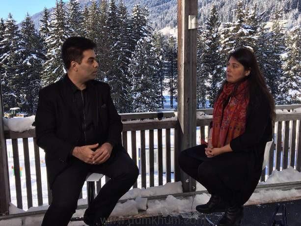Karan johar in conversation with Oscar winner Sharmeen Obaid Chinoy at Davos-1