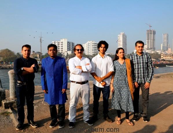 L-R Producer Kishor Arora, A R Rahman, Majid Majidi, Ishaan Khatter, Producer Shareen Mantri Kedia, Akash Chawla - Business Head, Zee Studios