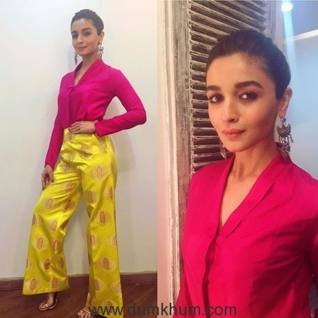 Charming Alia Bhatt was spotted in RAW MANGO by Sanjay Garg for the promotions of her upcoming movie Badrinath Ki Dulhaniya