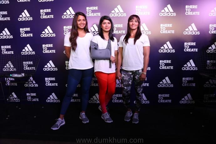 Dipika Pallikal, Nikhat Zareen and Geeta Phogat at the adidas #HeretoCreate campaign launch event