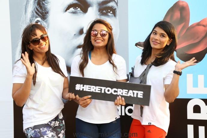 Geeta Phogat,Dipika Pallikal and Nikhat Zareen at the adidas #HeretoCreate event